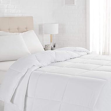 Amazon Basics Down Alternative Bedding Comforter Duvet Insert, Full / Queen, White, Light