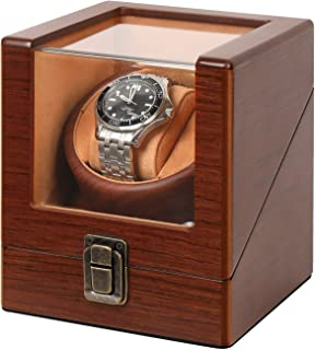 Walnut Wood Watch Winder for Automatic Watches with USB Powered Fit for Man and Women Automatic Watch Winder