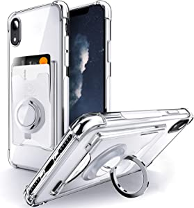 Shields Up Designed for iPhone XR Case, Minimalist Wallet Case with Card Holder and Ring Kickstand/Stand, [Drop Protection] Slim Protective Cover Apple iPhone XR - Clear