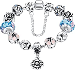 Presentski Fashion Charm Bracelet for Teen Girls and Women with Flower Themed Star Charms