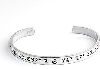 Coordinates Bracelet, Latitude Longitude Jewelry, GPS Location Personalized Cuff Bracelet