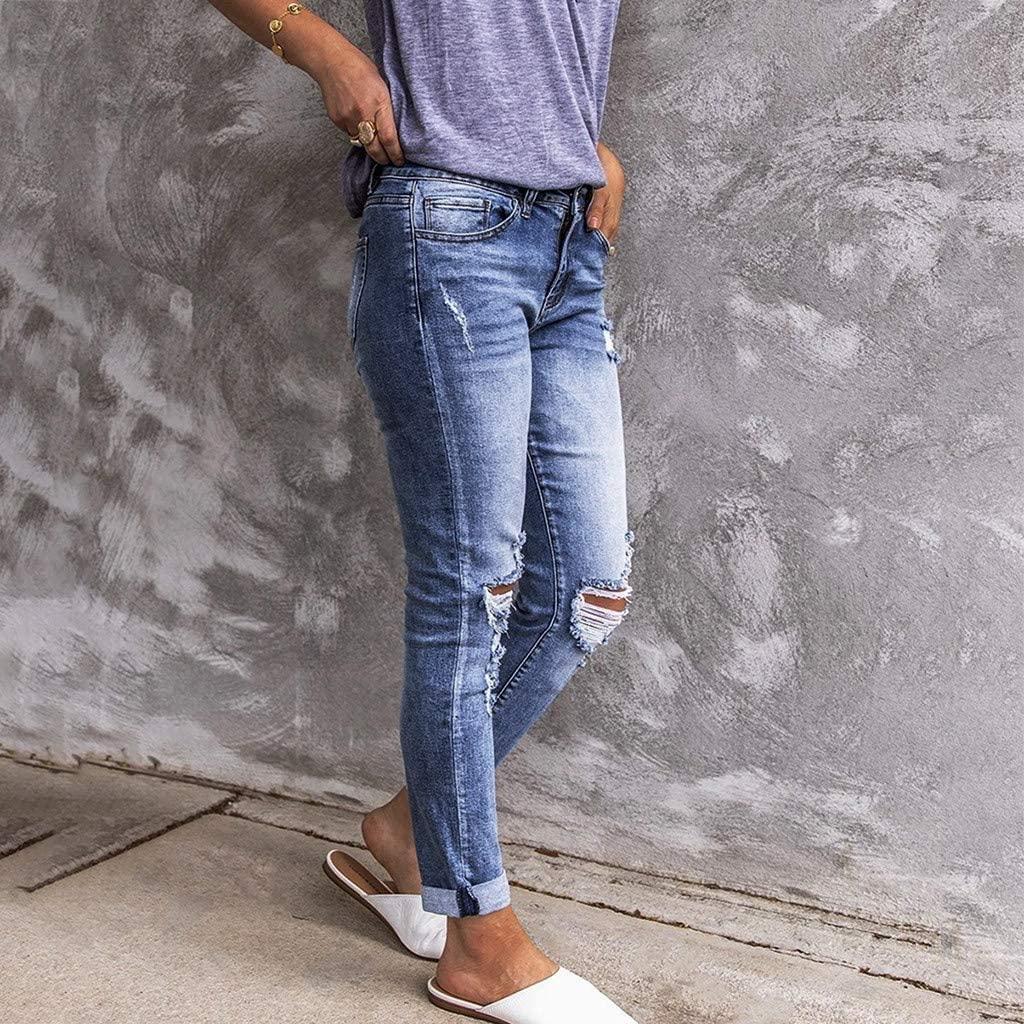 Women's Fashion Mid Waisted Skinny Hole Denim Relaxed Fit Button Stretch Slim Pants Calf Length Jeans