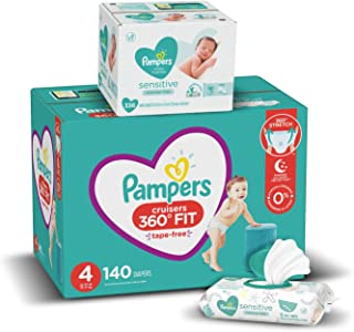 Sponsored Ad - Pampers Pull On Diapers Size 4 and Baby Wipes - Cruisers 360° Fit Disposable Baby Diapers with Stretchy Wai...