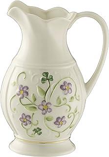 Belleek Pottery Floral Irish Flax Pitcher