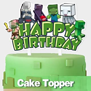 Happy Birthday Pixel Video Game Cake Topper Block Games Theme Party Cake Decor Perfect for Baby Shower Child Birthday Party Supplies Adorable Mirrored Acrylic Decorations