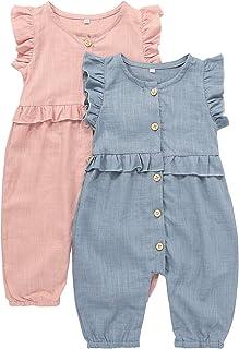 U·nikaka Baby Ruffled Cap Stripe Sleeve Rompers Newborn Girls Clothes Kids One Piece Jumpsuits 2-Pack