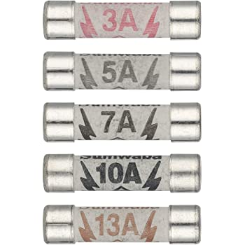 Hyber/&Cara Domestic 240V Household Mains Plug Top Fuse Electrical Cartridge Fuses 3A 5A 7A 10A 13A BS1362