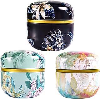 Bestonzon Lot de 6 petites boîtes de rangement en fer avec couvercle pour thé, boîte de cuisine en trois motifs différents