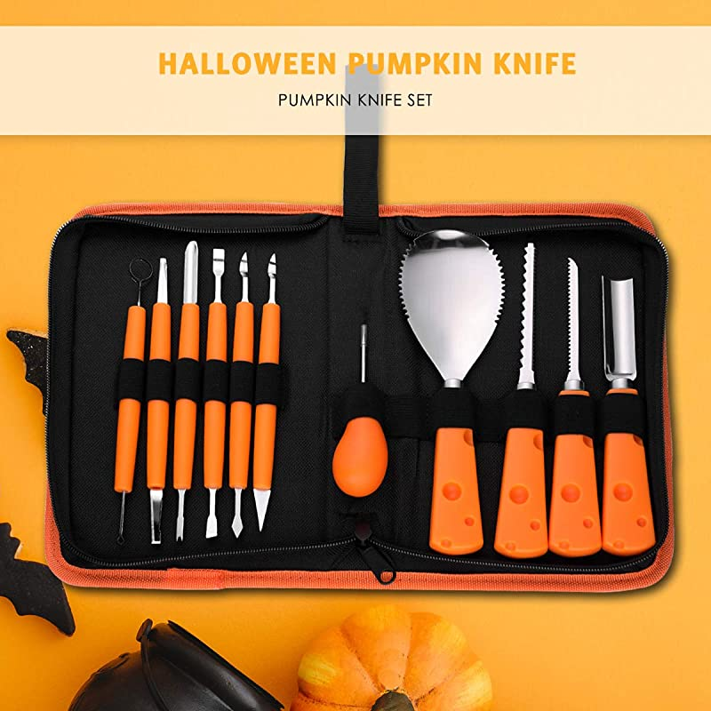Pumpkin Carving Kit 11 Piece Professional Halloween Pumpkin Carving Tools Set Sculpting Knifes Halloween Jack O Lanterns Heavy Duty Stainless Steel Tools For Halloween Decoration