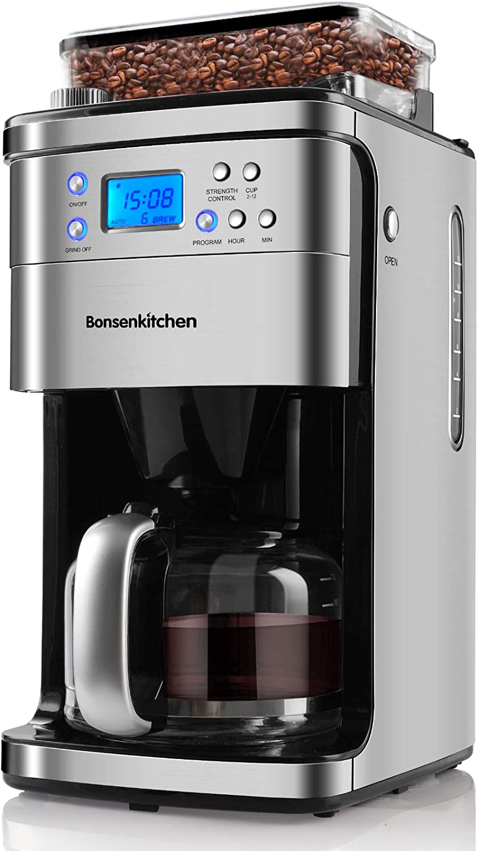 Bonsenkitchen Cafetera con molinillo cónico, Cafetera Goteo con jarra de vidrio de, Máquina de café acero inoxidable,1000W, 12 tazas