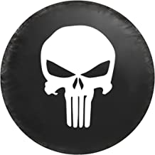 Kenkesh Skull Spare Tire Cover for RV, Jeep Wranglers, Boat Trailer. Choose from Multiple Designs with Flag & Crossbones. Rugged Weather Resistant Leather Grain Vinyl (M(15 INCH), Skull 2)
