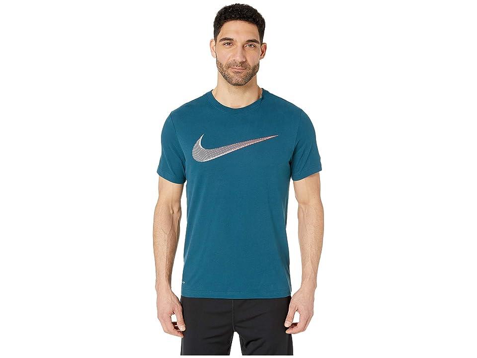 Nike Dry Tee Dri-FITtm Cotton 2 Year Swoosh (Nightshade/White) Men