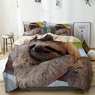 Mokale Duvet Cover Full,A Sloth with Long Fur and Claw on teh Tree Look Like Smile,100% Washed Microfiber 3pcs Bedding Set with 2 Pillow Shams,Reversible Beige,Zipper Closure & Corner Ties