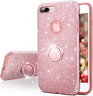 iPhone 7 Plus Case, Silverback Girls Bling Glitter Sparkle Cute Case with 360 Degree Rotating Ring Stand, Soft TPU Outer Cover + Hard PC Inner Shell for Apple iPhone 7 Plus -Rose Gold