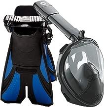 cozia design Snorkel Set with Full Face Snorkel Mask and Travel Adjustable Swim Fins