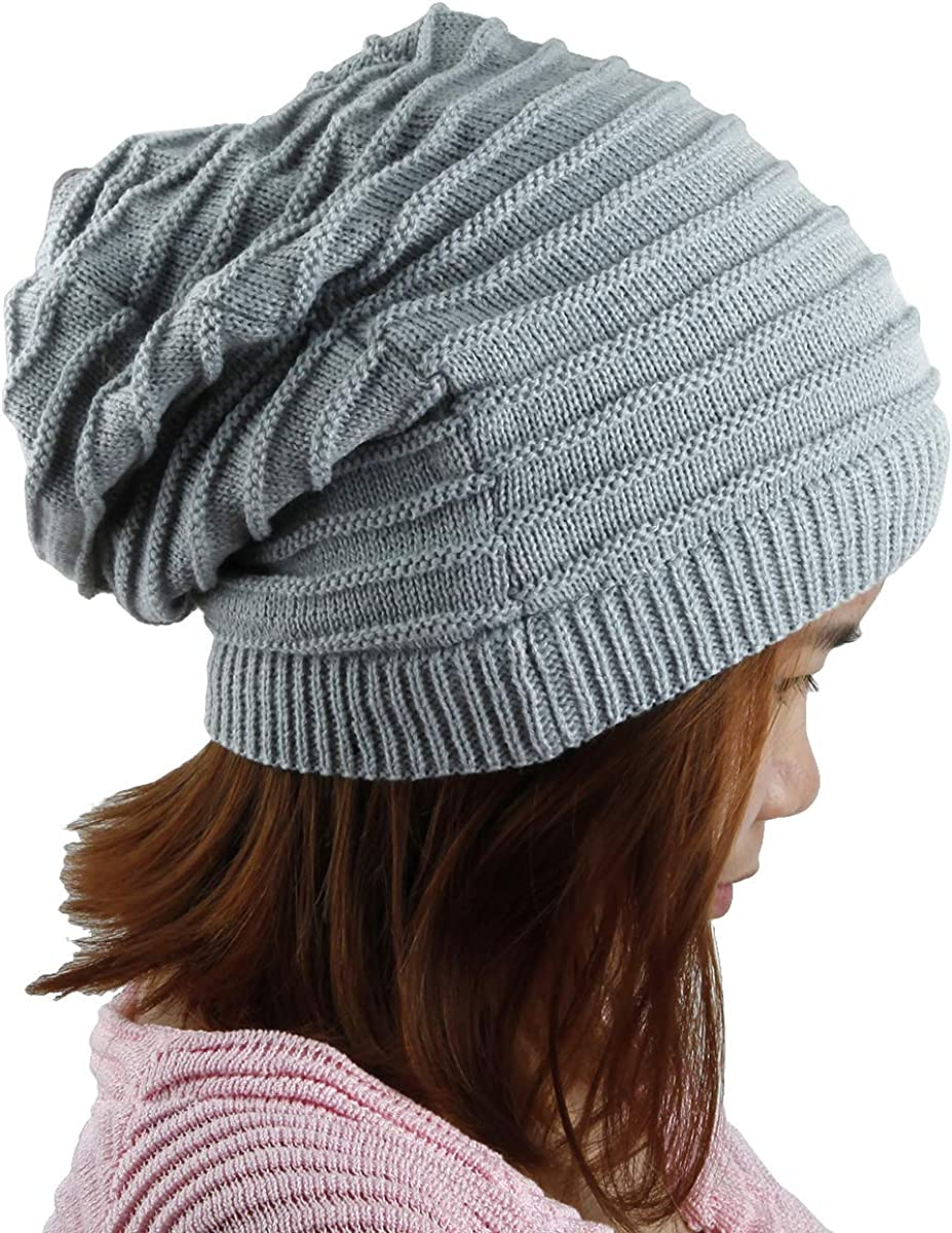 Samtree Unisex Slouchy Beanie Hat Stripe Knit Cap Loop Scarf Neckerchief Dreadlocks
