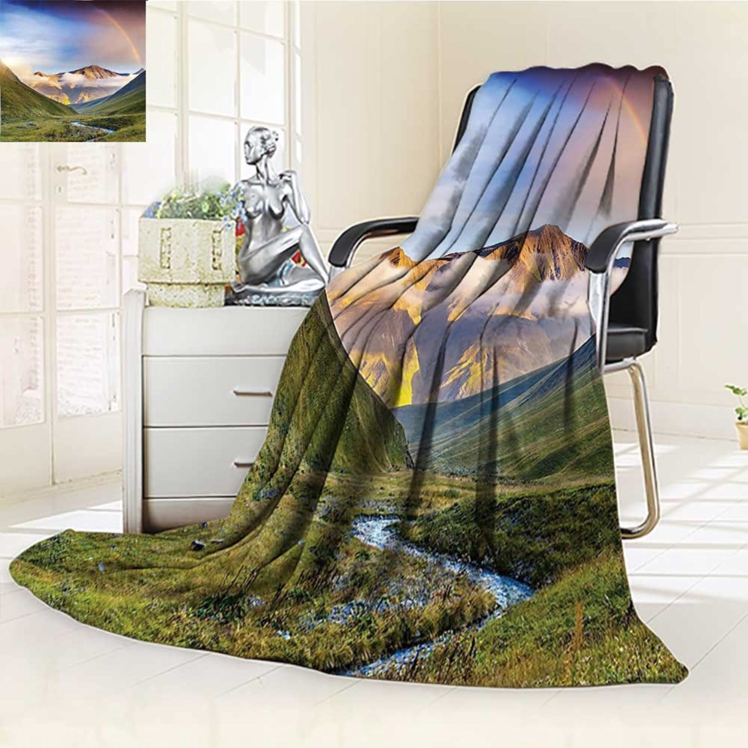 YOYIHOME Duplex Printed Blanket Warm Microfiber Meadow with Narrow Riverbed Mountains Rainbow Grass Clouds and Mist at Daytime Multi for Bed or Couch W47 x H59