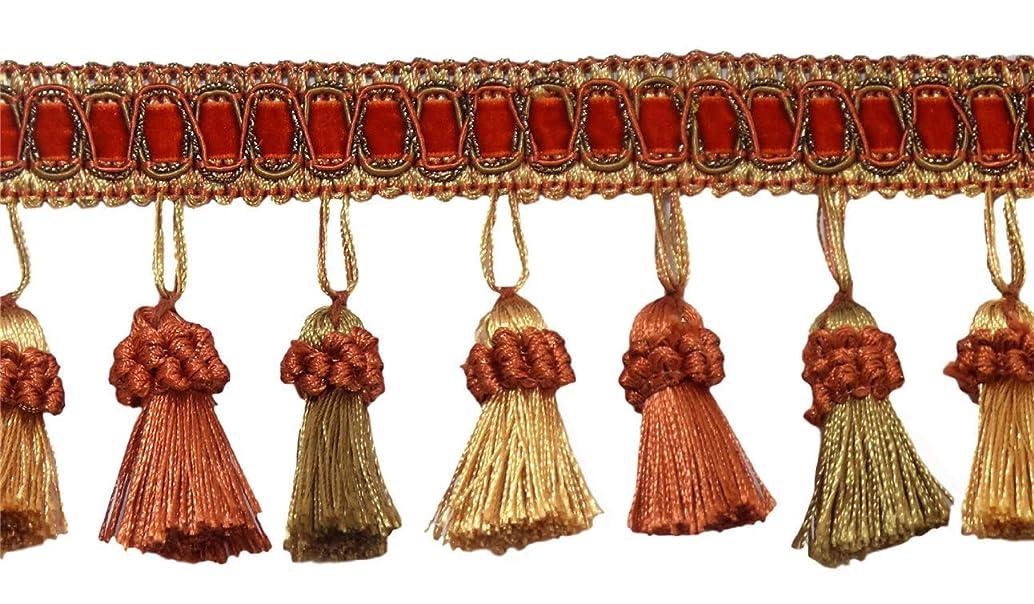 DecoPro 6 Yard Value Pack of Elegant 3 Inch Long Vintage Copper, Olive Green, Light Gold Tassel Fringe - Rust 07 (18 Ft / 6.5M)