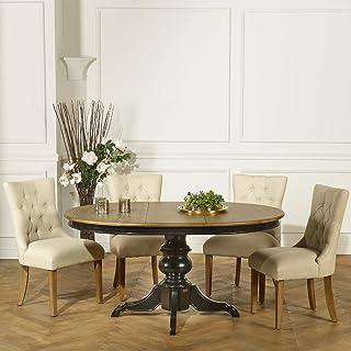Robin des bois - Table Ronde Extensible, 6 à 8 Couverts, Noire, Ariane