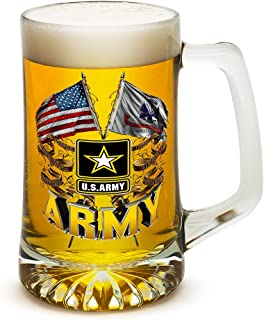 Beer Mugs with Handles – Double Flag US Army 25 oz Tankard Beer Mug – Armed Forces Gifts for Men or Women – Army Men American Soldier Beer Glasses with Logo (25 Ounces)
