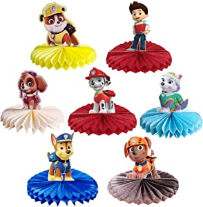 7Pcs Paw Dog Patrol Party Honeycombs Centerpieces Party Table Toppers Decoration Baby Shower Decor Cake Supplies Paw Dog Patrol Theme Birthday Animated Favor Photo Booth Props for Kids Boys Girls.