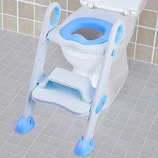NEARPOW Asiento de Entrenamiento para Bebés Ajustable con Pasos Escalera de Entrenamiento para Inodoros, Suave con Escalón Plegable Abatible Antideslizante (Azul)