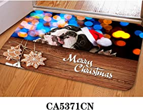 PZZ Christmas Boston Terrier Front Door Mat Entry Way Doormat Carpets Inside Floor Mats Non-Slip Rubber Backing Rugs Home Decorative