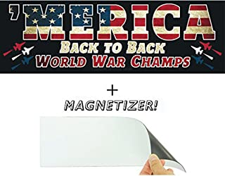 Merica: Back to Back World War Champs Bumper Sticker with Free Magnetizer. Who Kicks Ass? The US Military. How Often? Always. Show American Pride With This Funny Patriotic Car Decal & USA Driving Gift