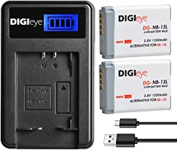 NB-13L Battery Replacement (2 Pack) and USB LCD Charger for Canon PowerShot G1 X Mark III, G5 X, G7 X, G7 X Mark II, G9 X, G9X Mark II, SX740 HS, SX720 HS, SX730, SX620 HS Camera