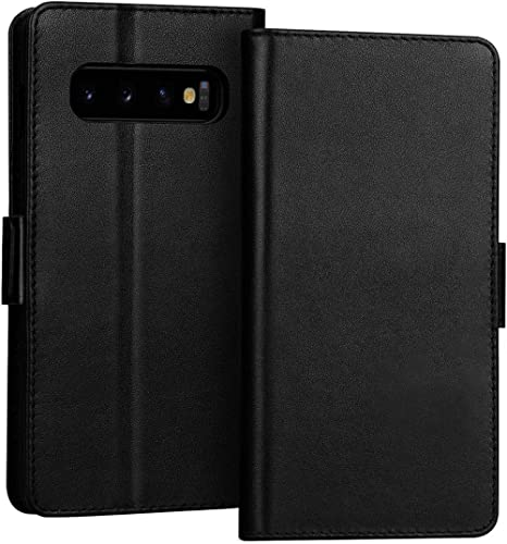 FYY Samsung S10+ Plus Case Genuine Leather Wallet Case Flip Folio Case Cover with [Kickstand Function] and [Card Slot...