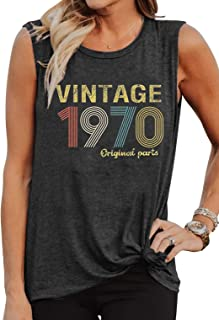 50th Birthday Gift Womens Tank Tops Vintage 1970 Original Parts Sleeveless T Shirts 50 Years Old Letter Print Vest