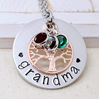 Grandmother Personalized Family Tree Necklace, Custom Grandma Birthstone Jewelry, Gift for Mom