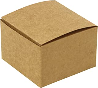 Iconikal 3 x 3 x 2-inch Gift Or Favor Box, Kraft Brown, 100-Count