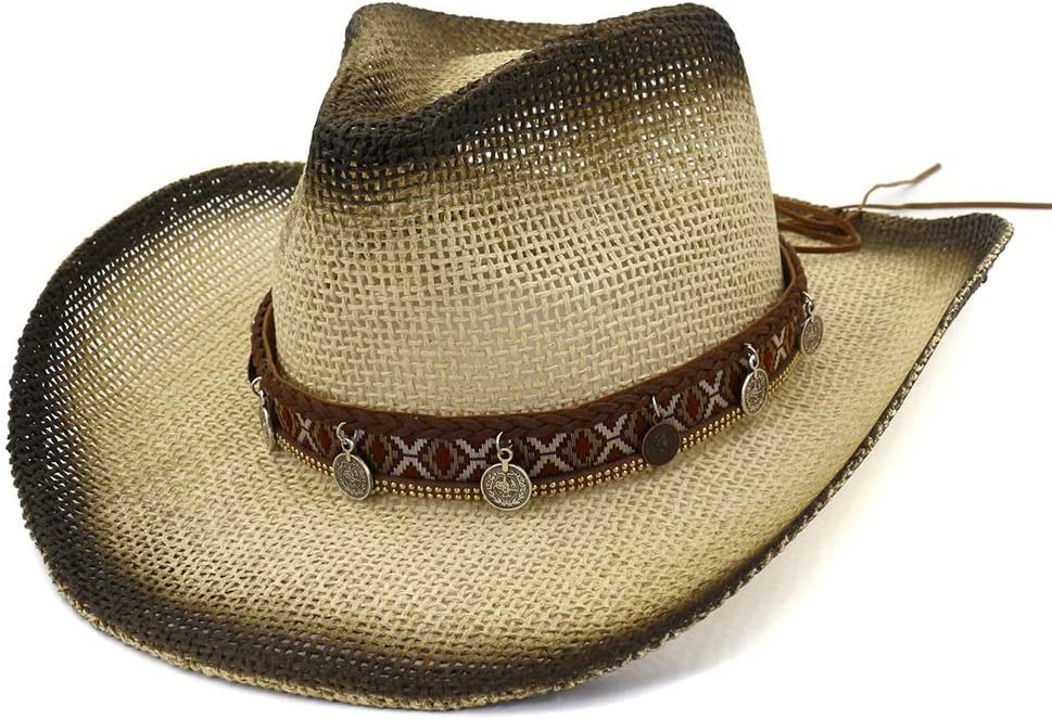 LIRRUI Outdoor OFFicial mail order Beach Cowboy Max 51% OFF Hat Paint Vis Straw Spray