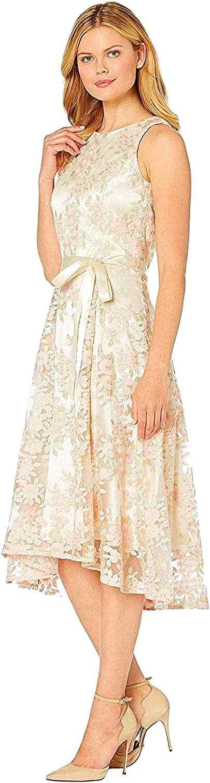 Tahari ASL Women's Sleeveless Embroidered Mesh Midi Dress