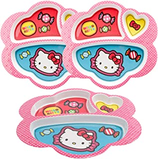 Zak! (3 Pack) Kids Hello Kitty 3-Section Divided Compartment Plates Dishwasher Safe Wide Textured Edge
