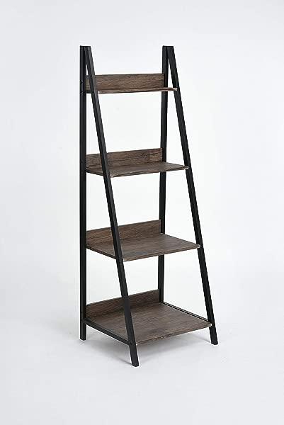 None Vintage Dark Brown Finish 4 Tier Shelves Leaning Ladder Bookcase Bookshelf Display Planter