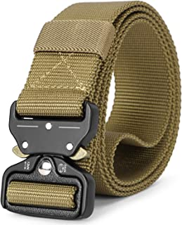 Mens Tactical Belt SANSTHS Heavy Duty Nylon Belt 1.5in Riggers Belt Military Webbing with Quick Release Metal Buckle