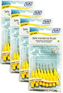 TePe Interdental Brushes 0.7mm Yellow - 4 Packets of 8 (32 Brushes)