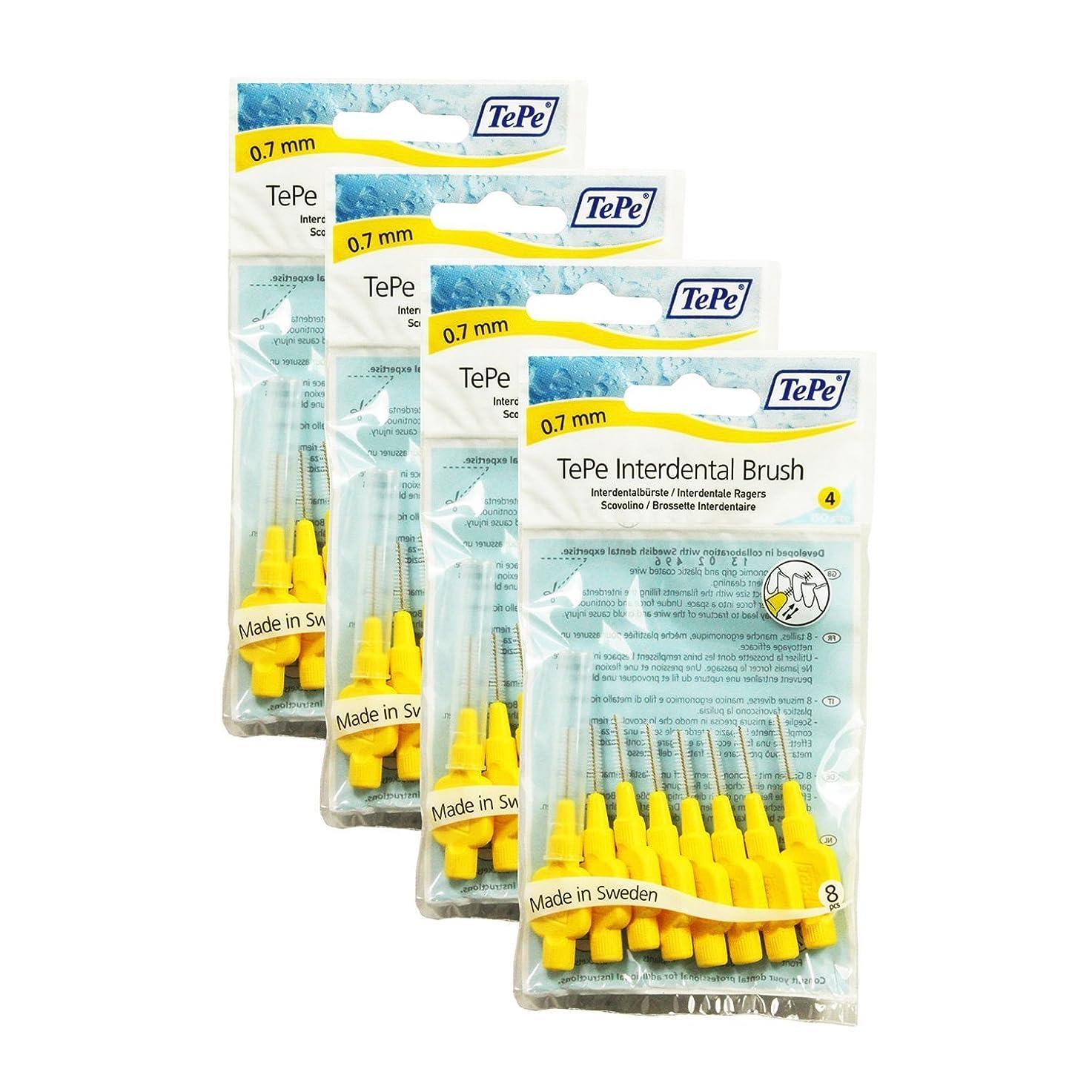 思春期の砂危険なTePe Interdental Brushes 0.7mm Yellow - 4 Packets of 8 (32 Brushes) by TePe