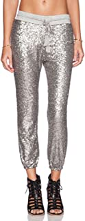 ASMAX HaoDuoYi Womens Spakle Sequin Punk Style 3/4 Loose-Fit Crop Jogger Pants with Drawstring Cropped Trousers