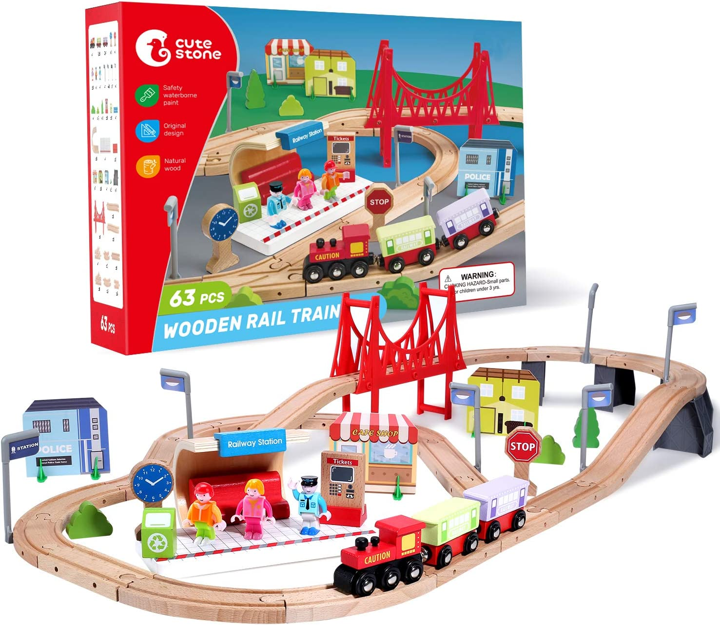 CUTE STONE 63 free Pcs Wooden Train for Tracks Kids Toddlers Set Choice