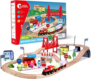 CUTE STONE 63 Pcs Wooden Train Set for Toddlers, Kids Tracks Set with Magnetic Train Cars, Bridge and Buildings, Play Figu...