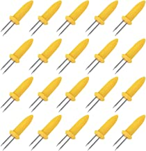 Easytle 20 Pieces Stainless Steel Corn Holders Corn on The Cob Skewers for BBQ Twin Prong Sweetcorn Holders Home Cooking Fork