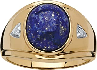 Men's 18K Yellow Gold Over Sterling Silver Oval Shaped Genuine Blue Lapis and Diamond Accent Ring