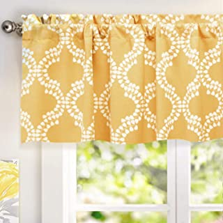 DriftAway Julianna Valance Geometric Leaf Pattern Thermal Blackout Window Curtain Valance Rod Pocket 52 Inch by 18 Inch Plus 2 Inch Header Golden Yellow