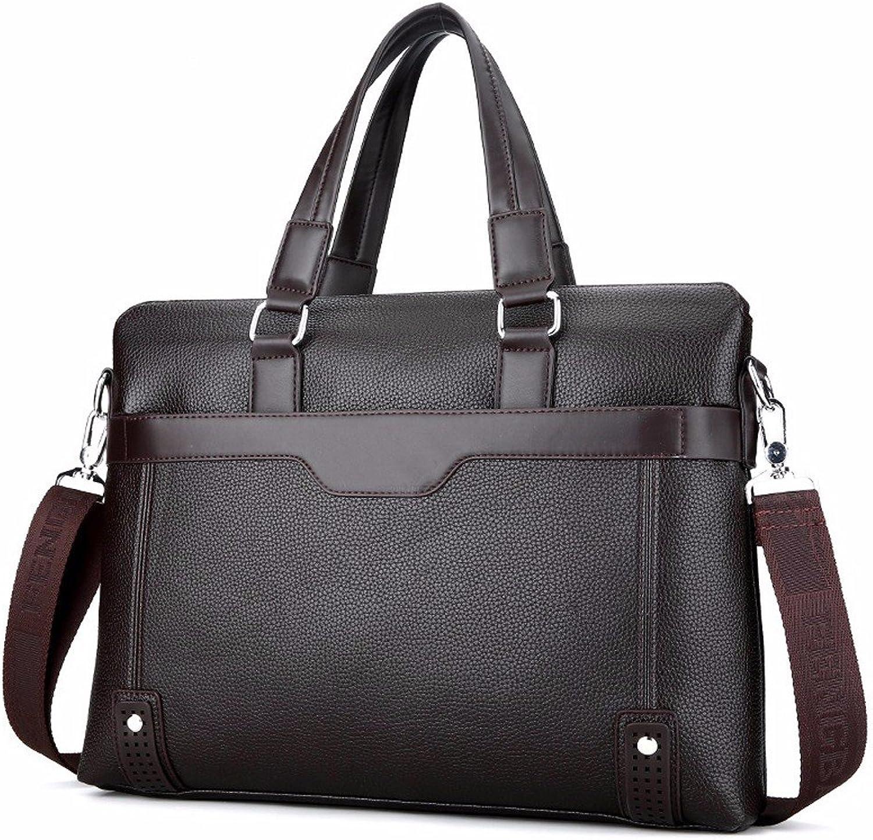 NHGY Men's Single Shoulder Bag, 36-55L Leather Business Briefcase, Cross Section Satchel Handbag, Black, Brown