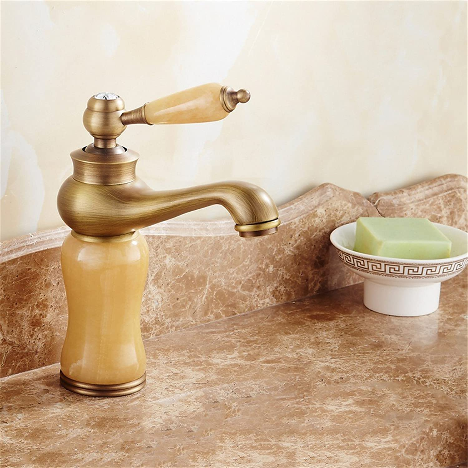 Fbict European Faucet gold Basin hot and Cold bluee Jade Marble Basin Faucet Copper washbasin Faucet, Classic Topaz for Kitchen Bathroom Faucet Bid Tap