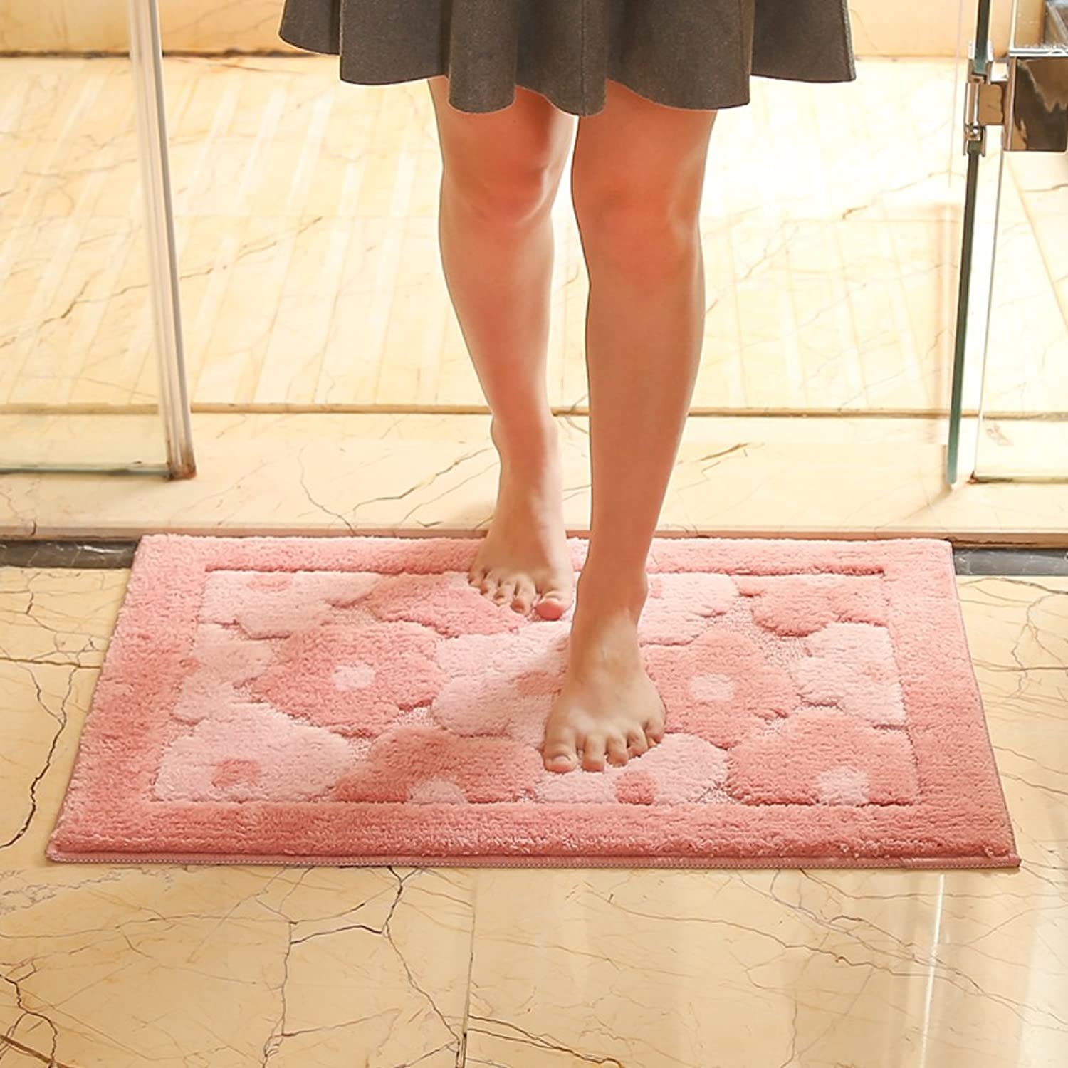 Aik@ Super Soft Easy Clean Non-Slip Doormat,Polyester Absorbent Area Rug Small mat Modern Carpet Mildew Resistant-Pink 80x120cm(31x47inch)