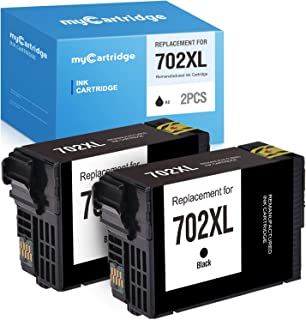 myCartridge Remanufactured Ink Cartridge Replacement for Epson 702XL 702 XL T702XL T702 use with Epson Workforce Pro WF-3720 WF-3730 WF-3733AIO Printer Black 2-Pack